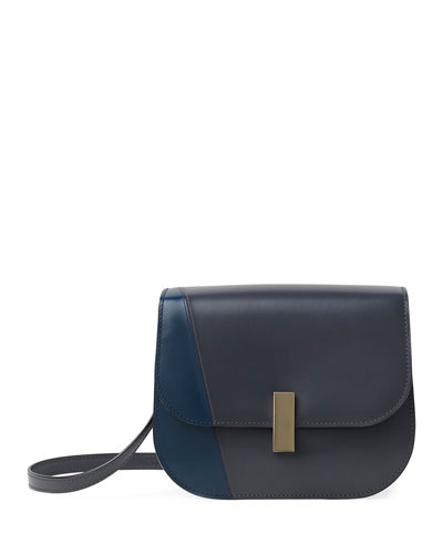 Leather Colorblock Iside Crossbody Bag, Blue