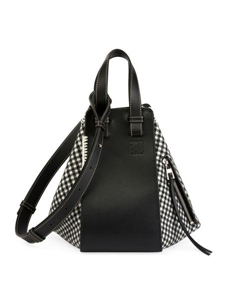 Small Hammock Tweed & Leather Shoulder Bag - Black, Black/White