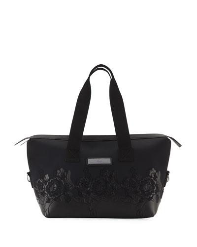 Floral Zip-Top Nylon Gym Bag