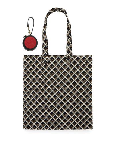 F-Embossed Nylon Shopper Tote Bag