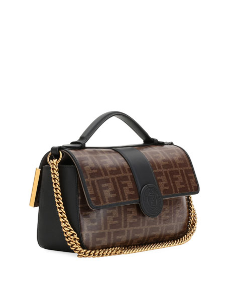 Double-Sided FF Canvas & Leather Shoulder Bag