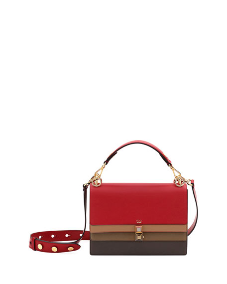 Fendi Kan I Colorblock Calf Leather Shoulder Bag