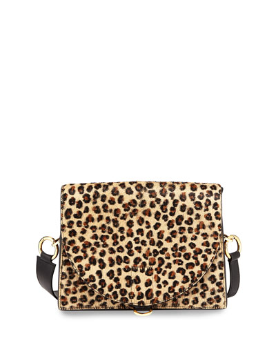 Hybrid Leopard Cow Hair & Leather Satchel Bag