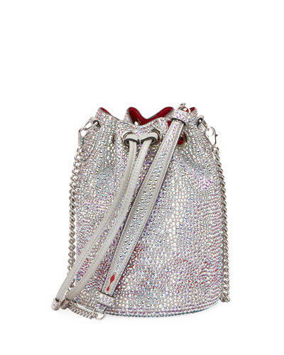 Marie Jane Crystal-Beaded Suede Bucket Bag