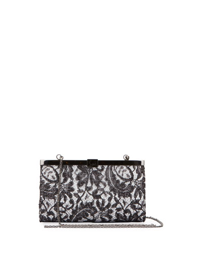 Palmette Small Dentelle Gloss Lace Clutch Bag