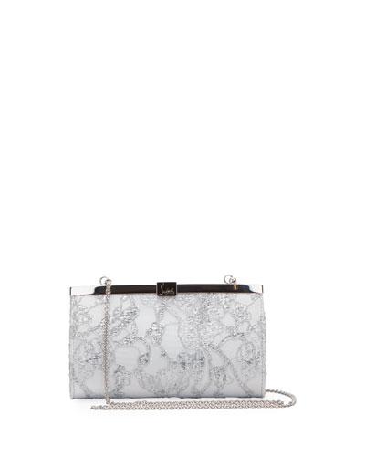Palmette Small Metallic Dentelle Lace Clutch Bag