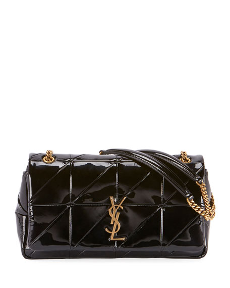 JAMIE MONOGRAM MEDIUM DIAMOND-QUILTED PATENT CHAIN SHOULDER BAG