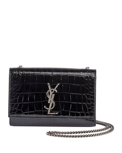 Kate Monogram Small Croco Patent Crossbody Bag