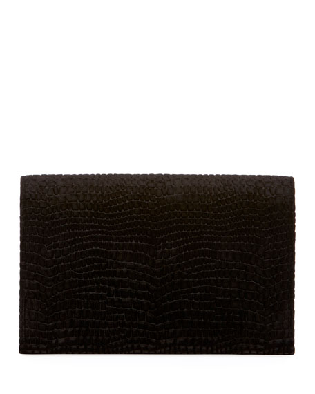 Monogram Saint Laurent Croco Velvet Wallet on Chain