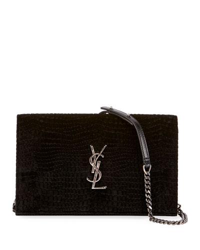 Monogram Saint Laurent Croco Velvet Wallet on Chain