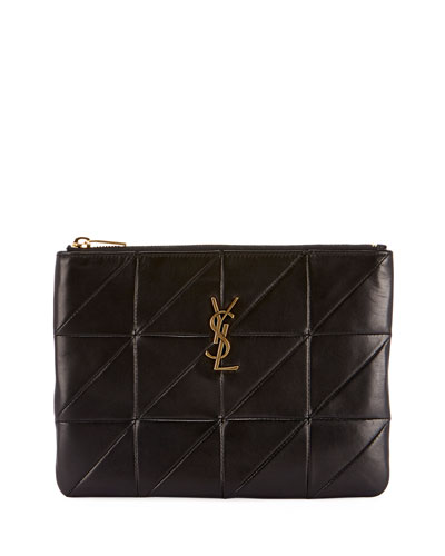 Jamie Monogram Diamond-Quilted Leather Pouch Clutch Bag - Golden Hardware