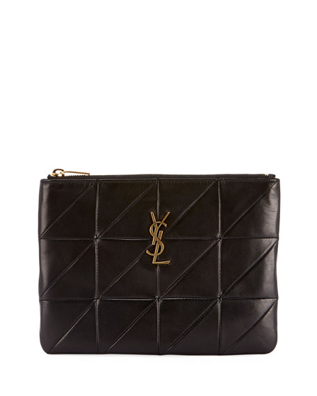Saint Laurent Jamie Monogram Diamond-Quilted Leather Pouch Clutch Bag -  Golden Hardware a1ff379417a21