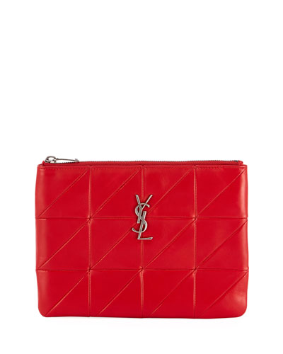 Jamie Monogram Diamond-Quilted Leather Pouch Clutch Bag - Silvertone Hardware