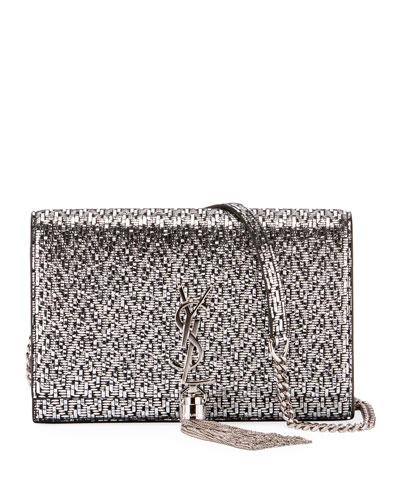 Kate Monogram Tassel Mini-Chevron Metallic Leather Wallet on a Chain