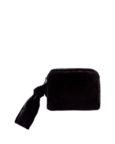Zip-Top Velvet Wristlet Clutch Bag