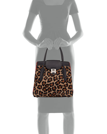 482e4487bb84 Michael Kors Bancroft Leopard Tartan Satchel Bag