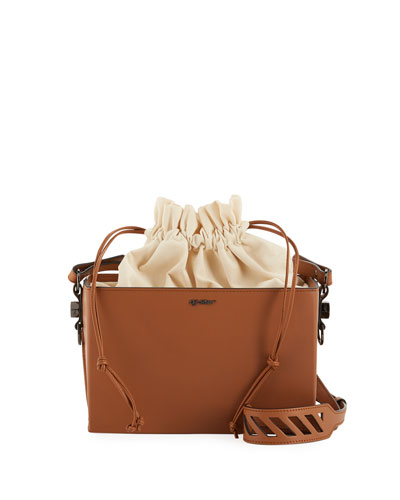 Boxy Leather and Canvas Shoulder Bag