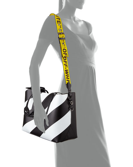 1474da2be Off-White Medium Diagonal Striped Leather Tote Bag