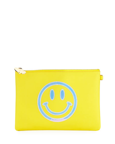 Small Smiley Face Flat Pouch in Yellow
