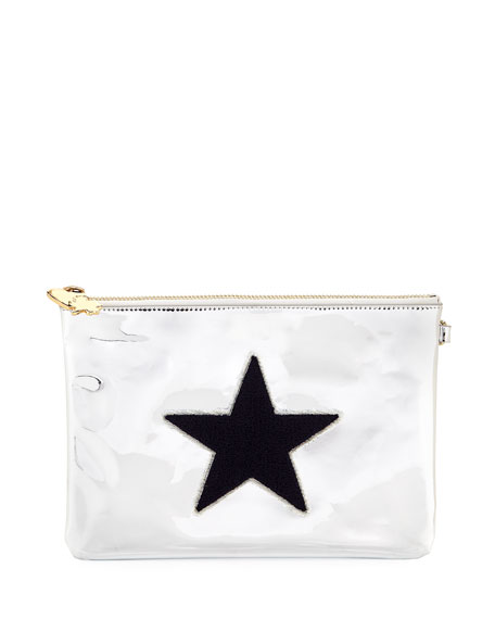 Small Metallic Star Flat Pouch in Gray
