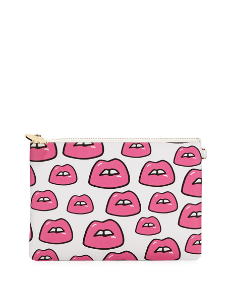 Small Lips Flat Pouch in Multi