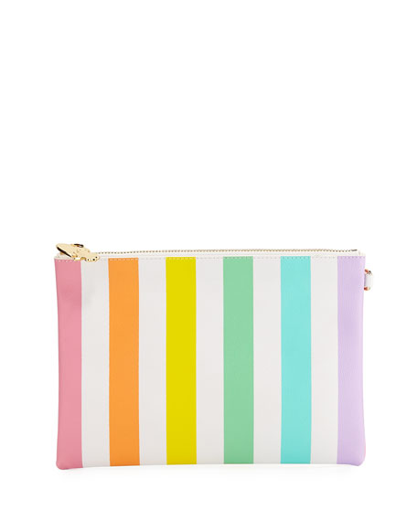 Small Rainbow Striped Flat Pouch in Multi