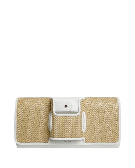 La Capitale Raffia Clutch Bag