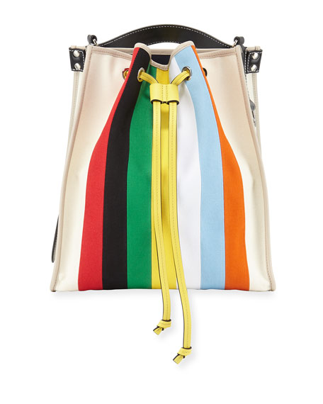 Striped Drawstring Tote Bag