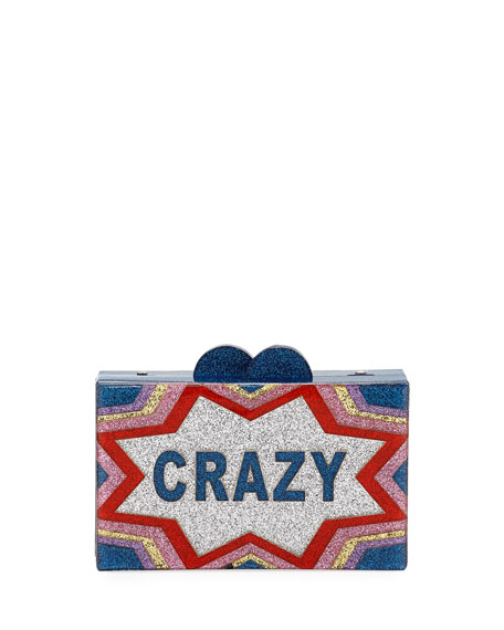Girls' Crazy/Cool Glittered Acrylic Box Clutch Bag in Multi