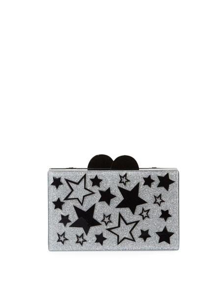 Girls' Stars Glittered Acrylic Box Clutch Bag in Silver