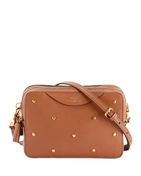Anya Hindmarch Studded Leather Double-Zip Wallet On Strap