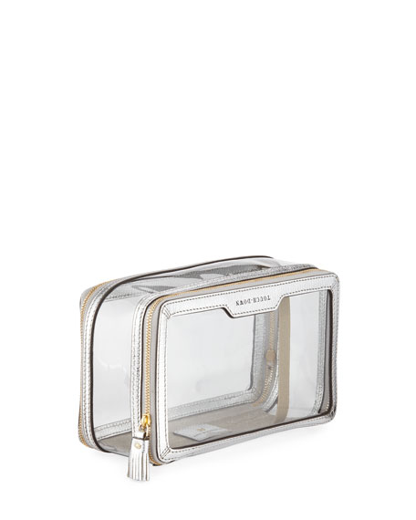 Inflight Patent Leather Clear Travel Pouch, White