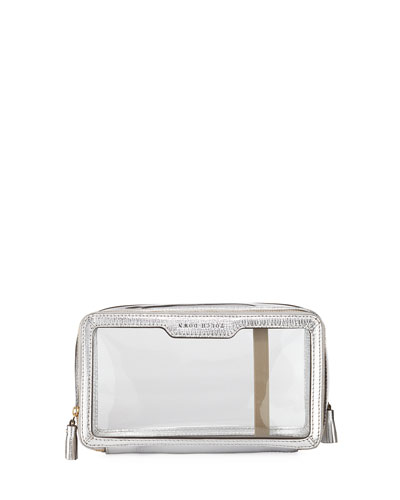 Inflight Patent Leather Clear Travel Pouch  White