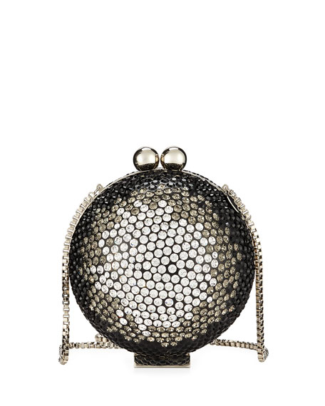 MARZOOK OmbrÉ Crystal Orb Minaudiere Bag in Silver