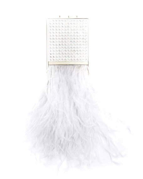 MARZOOK Mini Crystal Capsule Minaudiere With Feathers in White