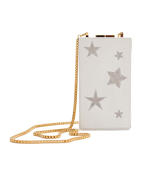 MARZOOK Callisto Star Capsule Minaudiere Clutch Bag With Chain in White