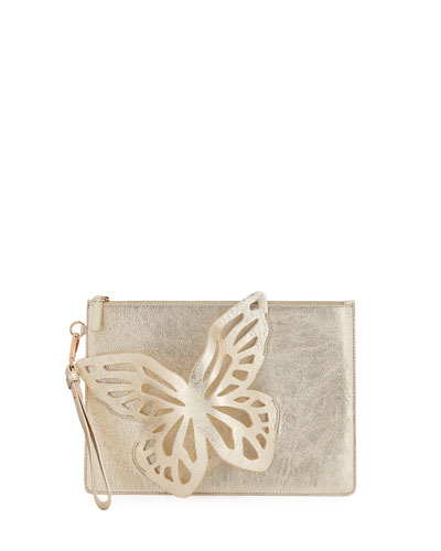 Flossy Butterfly Metallic Leather Pochette Clutch Bag
