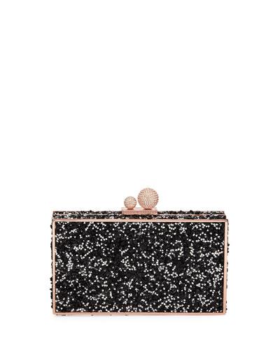 Clara Crystal Box Clutch Bag, Black