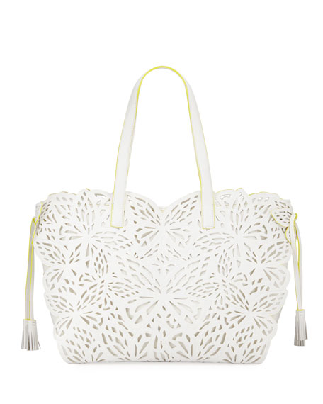 Sophia Webster Liara Canvas Laser-Cut Leather Butterfly Tote