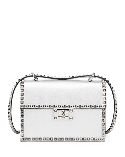 Rockstud No Limit Small Metallic Leather Shoulder Bag