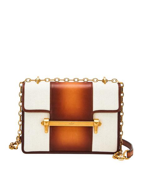 Uptown Bicolor Leather Shoulder Bag in Brown/White