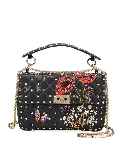 Spike It Beaded Flowers Quilted Leather Medium Shoulder Bag
