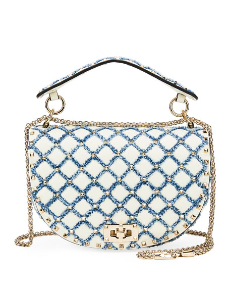 82491b4f89a Valentino Garavani Rockstud Spike Leather and Denim Shoulder Bag