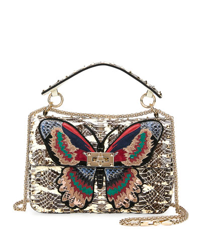 Spike.It Medium Butterfly Snakeskin Shoulder Bag