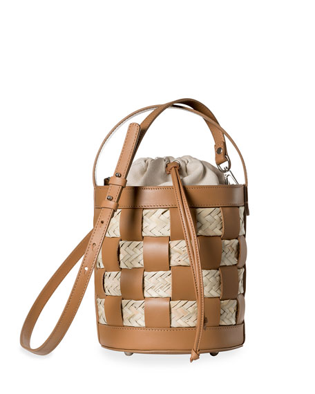 HEREU Galleda Leather & Straw Woven Bucket Bag