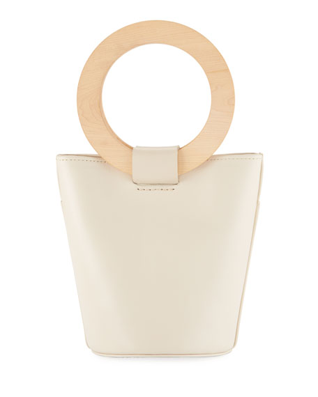 MODERN WEAVING Leather Mini Circle Bucket Bag in Taupe