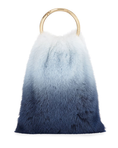 Furrissima Ombré Mink Top Handle Bag, Blue