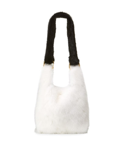 Furrissima Baby Mink Small Top Handle Bag  White