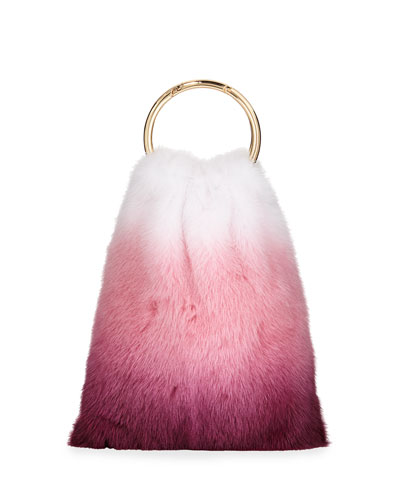 Furrissima Ombré Mink Top Handle Bag, Pink