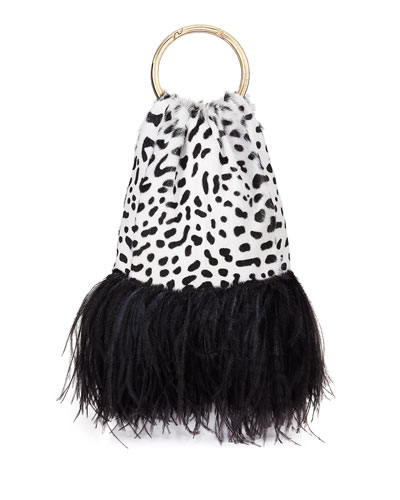 Furrissima Jaguar-Print Goat Top Handle Bag w/ Feather Trim